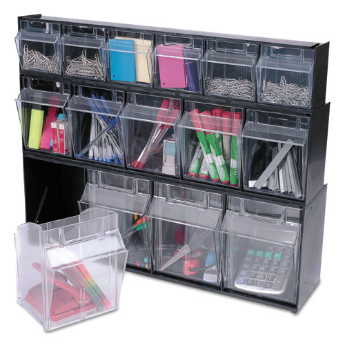 "Tilt Bin Interlocking Multi-Bin Storage Organizer, 5 Sections, 23.63"" x 5.25"" x 6.5"", Black/Clear. Picture 5"