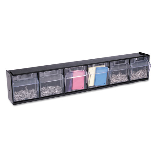 "Tilt Bin Interlocking Multi-Bin Storage Organizer, 6 Sections, 23.63"" x 3.63"" x 4.5"", Black/Clear. Picture 3"