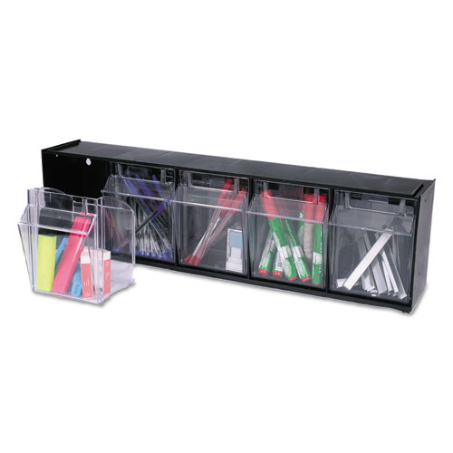 "Tilt Bin Interlocking Multi-Bin Storage Organizer, 5 Sections, 23.63"" x 5.25"" x 6.5"", Black/Clear. Picture 6"