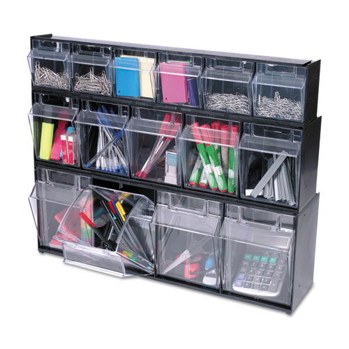 "Tilt Bin Interlocking Multi-Bin Storage Organizer, 6 Sections, 23.63"" x 3.63"" x 4.5"", Black/Clear. Picture 5"