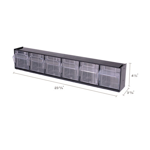 "Tilt Bin Interlocking Multi-Bin Storage Organizer, 6 Sections, 23.63"" x 3.63"" x 4.5"", Black/Clear. Picture 6"