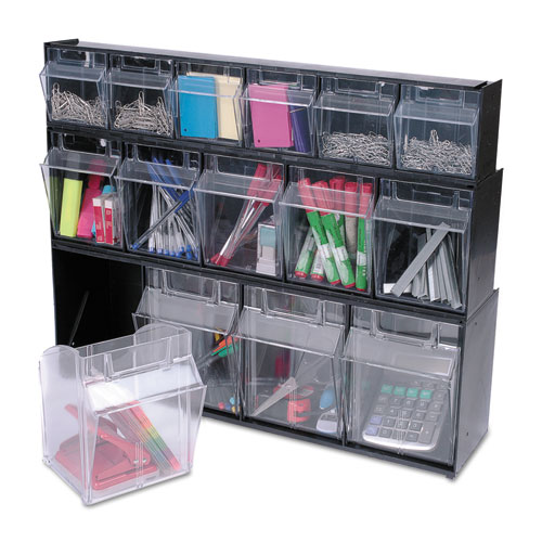 "Tilt Bin Interlocking Multi-Bin Storage Organizer, 6 Sections, 23.63"" x 3.63"" x 4.5"", Black/Clear. Picture 7"