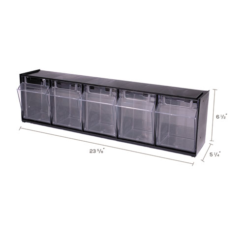 "Tilt Bin Interlocking Multi-Bin Storage Organizer, 5 Sections, 23.63"" x 5.25"" x 6.5"", Black/Clear. Picture 7"
