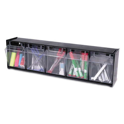"Tilt Bin Interlocking Multi-Bin Storage Organizer, 5 Sections, 23.63"" x 5.25"" x 6.5"", Black/Clear. The main picture."
