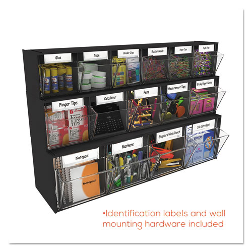 "Tilt Bin Interlocking Multi-Bin Storage Organizer, 6 Sections, 23.63"" x 3.63"" x 4.5"", Black/Clear. Picture 8"