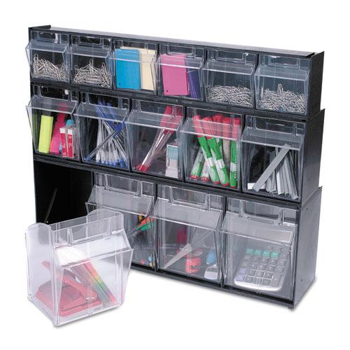 "Tilt Bin Interlocking Multi-Bin Storage Organizer, 4 Sections, 23.63"" x 6.63"" x 8.13"", Black/Clear. Picture 13"
