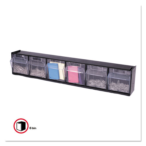 "Tilt Bin Interlocking Multi-Bin Storage Organizer, 6 Sections, 23.63"" x 3.63"" x 4.5"", Black/Clear. Picture 10"