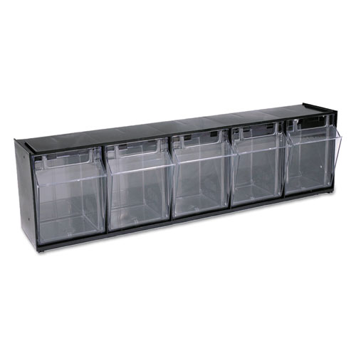 "Tilt Bin Interlocking Multi-Bin Storage Organizer, 5 Sections, 23.63"" x 5.25"" x 6.5"", Black/Clear. Picture 9"