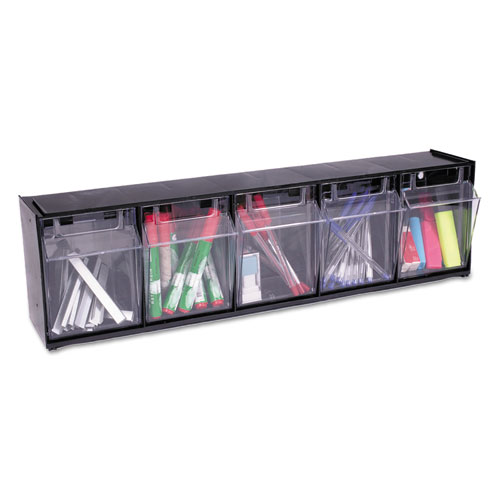 "Tilt Bin Interlocking Multi-Bin Storage Organizer, 5 Sections, 23.63"" x 5.25"" x 6.5"", Black/Clear. Picture 10"