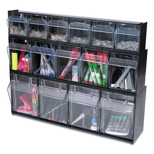 "Tilt Bin Interlocking Multi-Bin Storage Organizer, 6 Sections, 23.63"" x 3.63"" x 4.5"", Black/Clear. Picture 13"