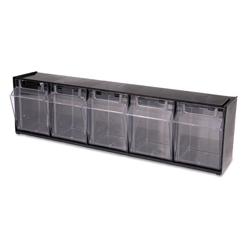 "Tilt Bin Interlocking Multi-Bin Storage Organizer, 5 Sections, 23.63"" x 5.25"" x 6.5"", Black/Clear. Picture 11"