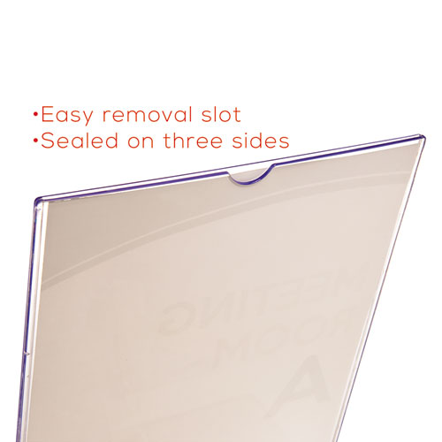Superior Image Slanted Sign Holder with Front Pocket, 9w x 4.5d x 10.75h, Clear. Picture 8