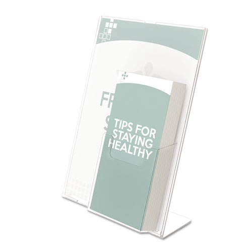 Superior Image Slanted Sign Holder with Front Pocket, 9w x 4.5d x 10.75h, Clear. Picture 1