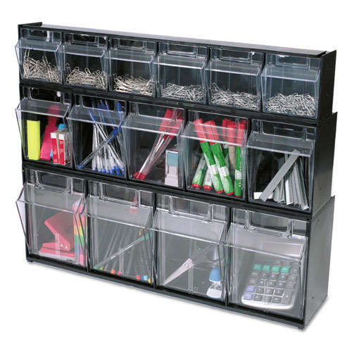 "Tilt Bin Interlocking Multi-Bin Storage Organizer, 5 Sections, 23.63"" x 5.25"" x 6.5"", Black/Clear. Picture 13"