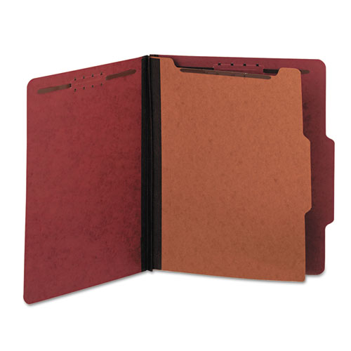 Four-Section Pressboard Classification Folders, 1 Divider, Letter Size, Red, 10/Box. Picture 3