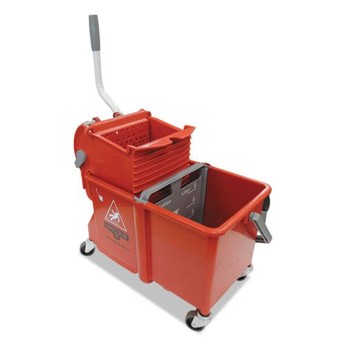 Side-Press Restroom Mop Dual Bucket Combo, 4 gal, Plastic, Red. Picture 1