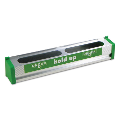 Hold Up Aluminum Tool Rack, 18w x 3.5d x 3.5h, Aluminum/Green. Picture 1