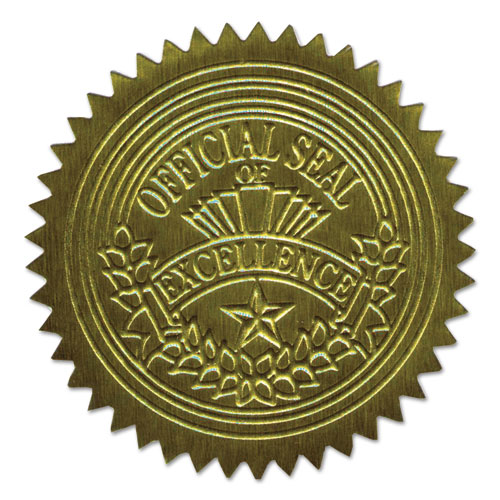 """Self-Adhesive Embossed Seals, 2"""" dia., Gold, 20/Sheet, 5 Sheets/Pack. Picture 1"""