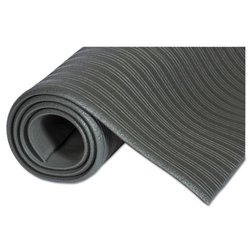 Ribbed Vinyl Anti-Fatigue Mat, 24 x 36, Black. Picture 3