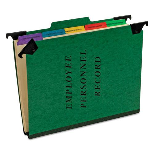 Hanging Style Personnel Folders, 1/3-Cut Tabs, Center Position, Letter Size, Green. Picture 1