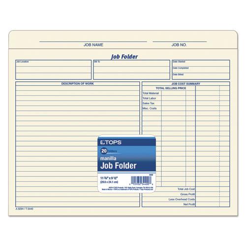 Job Folder, Straight Tab, Letter Size, Manila, 20/Pack. Picture 2