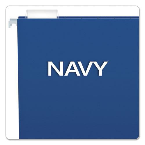Colored Hanging Folders, Letter Size, 1/5-Cut Tab, Navy, 25/Box. Picture 3