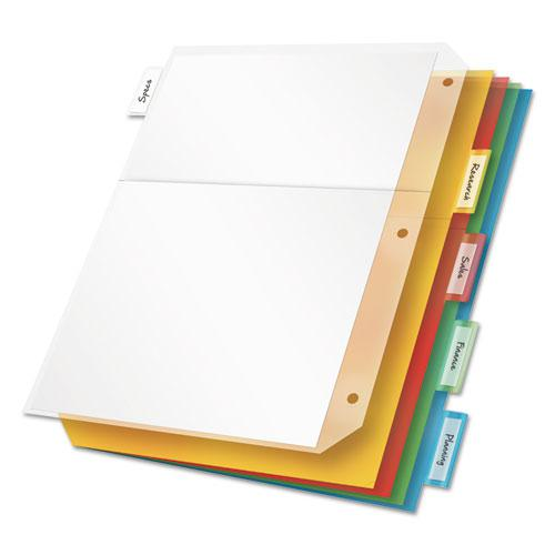 Poly Ring Binder Pockets, 11 x 8 1/2, Letter, Assorted Colors, 5/Pack. Picture 1