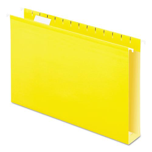 Extra Capacity Reinforced Hanging File Folders with Box Bottom, Legal Size, 1/5-Cut Tab, Yellow, 25/Box. Picture 1