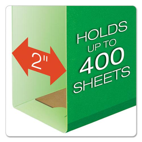 Extra Capacity Reinforced Hanging File Folders with Box Bottom, Letter Size, 1/5-Cut Tab, Bright Green, 25/Box. Picture 2