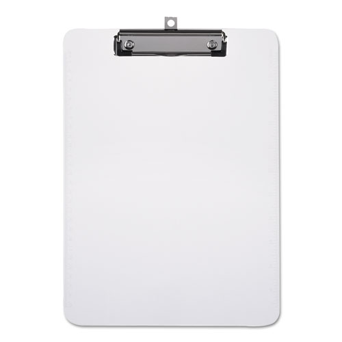"""Plastic Clipboard with Low Profile Clip 1/2"""" Capacity, Holds 8 1/2 x 11, Clear. Picture 1"""