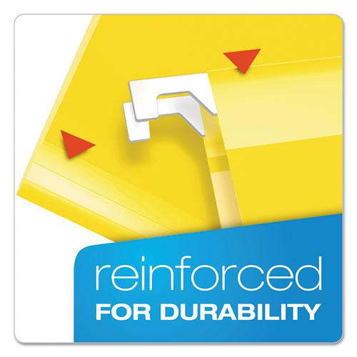 Extra Capacity Reinforced Hanging File Folders with Box Bottom, Legal Size, 1/5-Cut Tab, Yellow, 25/Box. Picture 3