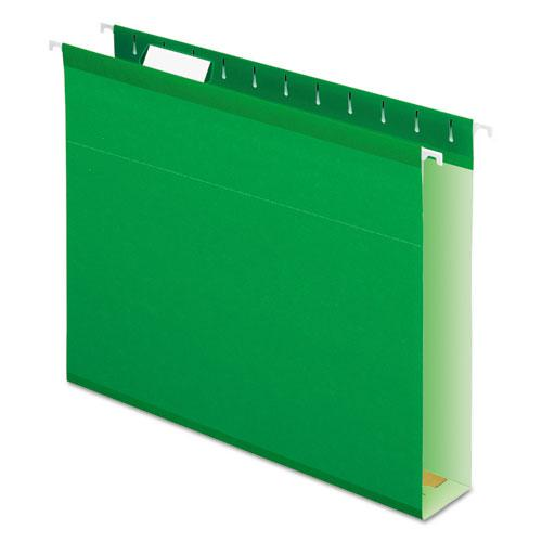 Extra Capacity Reinforced Hanging File Folders with Box Bottom, Letter Size, 1/5-Cut Tab, Bright Green, 25/Box. Picture 1