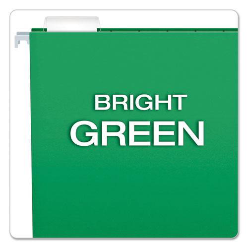 Colored Hanging Folders, Letter Size, 1/5-Cut Tab, Bright Green, 25/Box. Picture 3