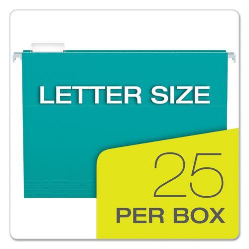 Colored Hanging Folders, Letter Size, 1/5-Cut Tab, Aqua, 25/Box. Picture 5
