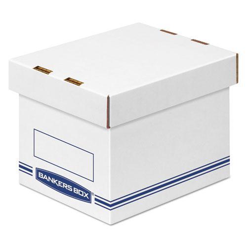 "Organizer Storage Boxes, Small, 6.25"" x 8.13"" x 6.5"", White/Blue, 12/Carton. Picture 1"