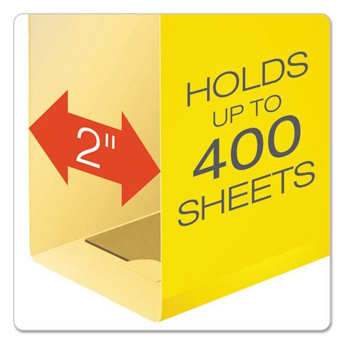 Extra Capacity Reinforced Hanging File Folders with Box Bottom, Legal Size, 1/5-Cut Tab, Yellow, 25/Box. Picture 2