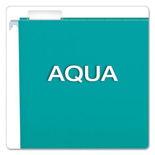 Colored Hanging Folders, Letter Size, 1/5-Cut Tab, Aqua, 25/Box. Picture 3