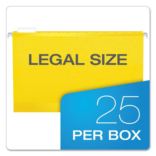 Extra Capacity Reinforced Hanging File Folders with Box Bottom, Legal Size, 1/5-Cut Tab, Yellow, 25/Box. Picture 6