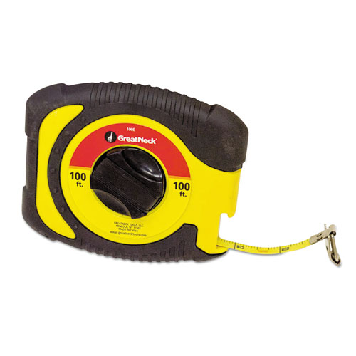 """English Rule Measuring Tape, 3/8"""" x 100ft, Steel, Yellow. Picture 1"""