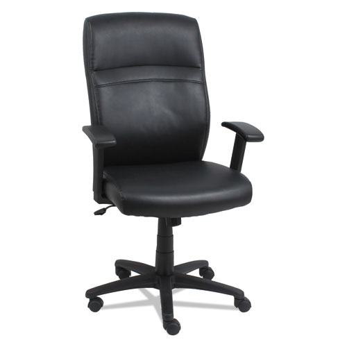 High-Back Swivel/Tilt Bonded Leather Chair, Supports up to 275 lbs, Black Seat/Black Back, Black Base. Picture 1