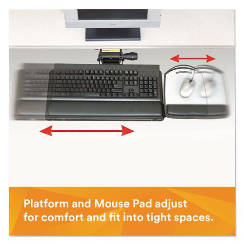 Knob Adjust Keyboard Tray With Highly Adjustable Platform, Black. Picture 3