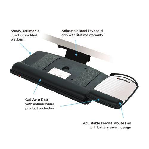 """Easy Adjust Keyboard Tray, Highly Adjustable Platform, 23"""" Track, Black. Picture 2"""