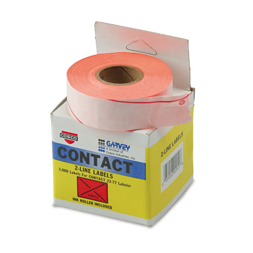 Two-Line Pricemarker Labels, 0.44 x 0.81, Fluorescent Red, 1,000/Roll, 3 Rolls/Box. Picture 2