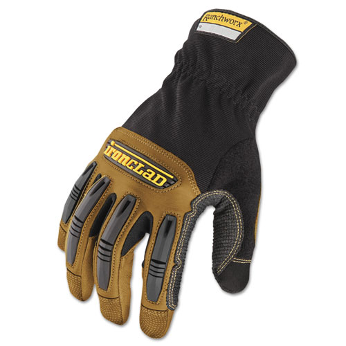 Ranchworx Leather Gloves, Black/Tan, Large. Picture 1
