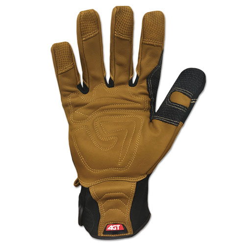 Ranchworx Leather Gloves, Black/Tan, Large. Picture 2