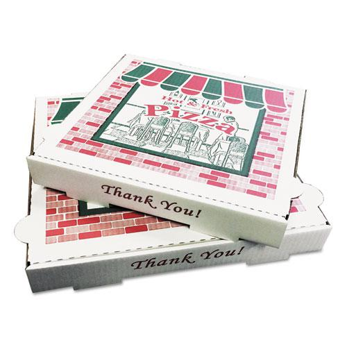 "Corrugated Kraft Pizza Boxes, B-Flute, 12"" Pizza, 12 x 12 x 1.75, White, 50/Bundle. Picture 1"