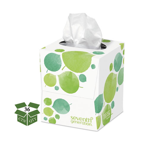 100% Recycled Facial Tissue, 2-Ply, 85 Sheets/Box, 36 Boxes/Carton. Picture 1