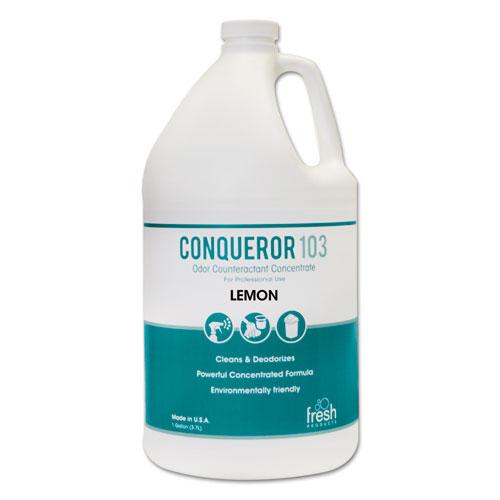 Conqueror 103 Odor Counteractant Concentrate, Lemon, 1 gal Bottle, 4/Carton. Picture 1