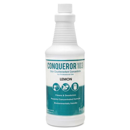 Conqueror 103 Odor Counteractant Concentrate, Lemon, 32 oz Bottle, 12/Carton. Picture 1