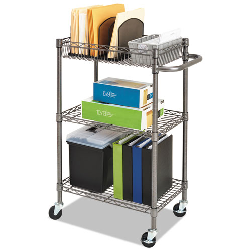 Three-Tier Wire Cart with Basket, 28w x 16d x 39h, Black Anthracite. Picture 10